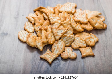 crackers on a wooden background. place for text