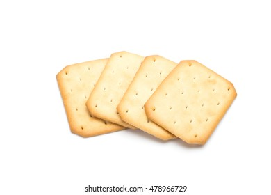Crackers stacked isolated over white background