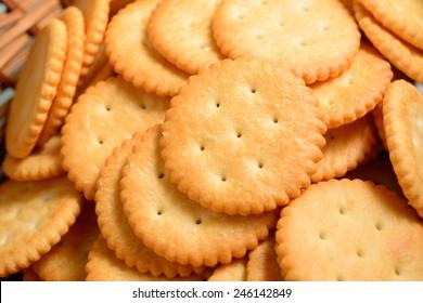 Crackers in wooden basket