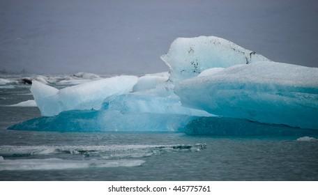 Cracking Iceberg in Jokulsarlon, Iceland