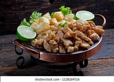crackling or fried manioc and cassava