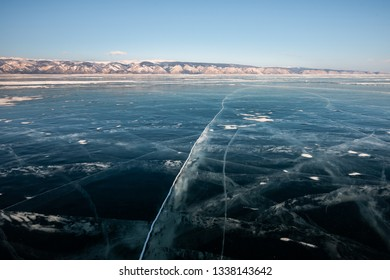 Cracks on the ice at the Baikal lake in Russia - Landscape