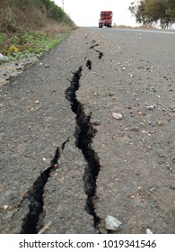 Cracks in paved roads after the construction of new roads.