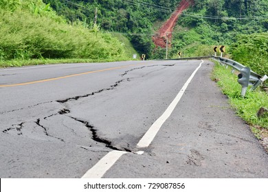 Cracks in the road and landslides on the mountain. Damage caused by earthquakes and natural disasters. Damage caused by Corruption.