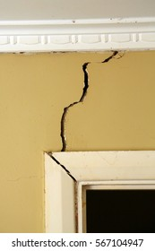 Cracks in Wall . Building problems with cracks forming due to poor foundations .