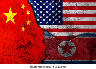 Cracks in the wall. Flags: USA, China, North Korea