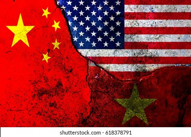 Cracks in the wall. Flags: USA, China, Vietnam