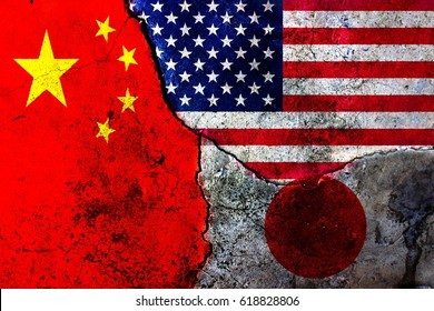 Cracks in the wall. Flags: USA, China, Japan