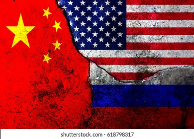 Cracks in the wall. Flags: USA, Russia, China