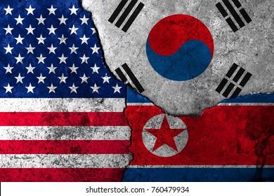 Cracks in the wall. Ver. II. Flags: US, South Korea, North Korea