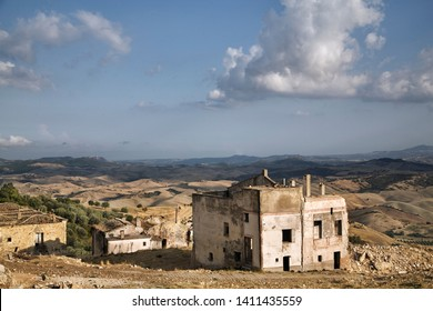 Craco, Basilicata, Italy. View of the buildings and the countryside surrounding.
