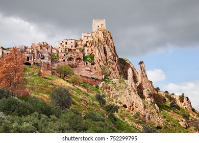 Craco, Matera, Basilicata, Italy: view of the ghost town that was abandoned  due to natural disasters