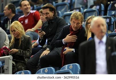 CRACOV, POLAND - JANUARY 15, 2016: Men's EHF European Handball Federation EURO 2016 Krakow Tauron Arena Poland Serbiao/p: Zbigniew Boniek head of PZPN