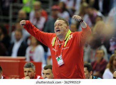 CRACOV, POLAND - JANUARY 15, 2016: Men's EHF European Handball Federation EURO 2016 Krakow Tauron Arena Poland Serbiao/p: Michael Chrapkowski