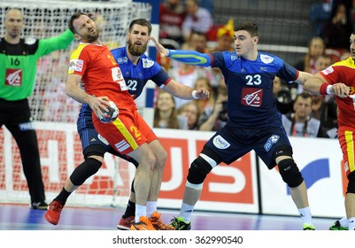 CRACOV, POLAND - JANUARY 15, 2016: Men's EHF European Handball Federation EURO 2016 Krakow Tauron Arena Macedonia Franceo/p: Nemanja Pribak Luka Karabatic Ludovic Fabregas