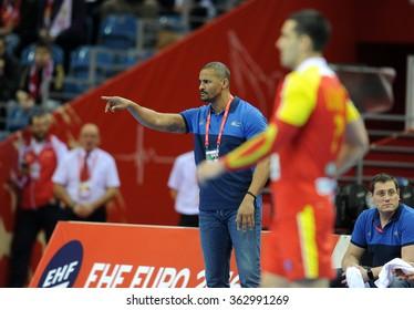 CRACOV, POLAND - JANUARY 15, 2016: Men's EHF European Handball Federation EURO 2016 Krakow Tauron Arena Macedonia Franceo/p: Claude Onesta