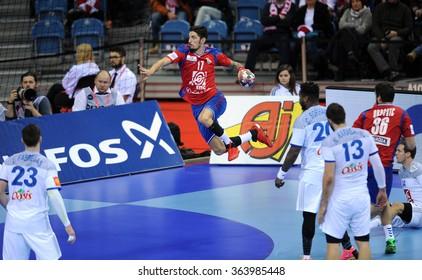 CRACOV, POLAND - JANUARY 17, 2016: Men's EHF European Handball Federation EURO 2016 Krakow Tauron Arena Serbia Franceo/p: Novak Boskovic