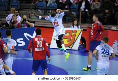 CRACOV, POLAND - JANUARY 17, 2016: Men's EHF European Handball Federation EURO 2016 Krakow Tauron Arena Serbia Franceo/p: Luc Abalo