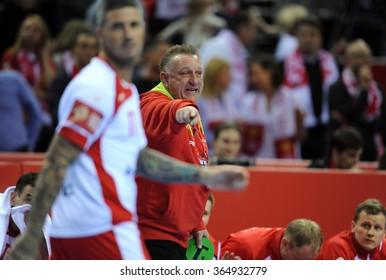 CRACOV, POLAND - JANUARY 19, 2016: Men's EHF European Handball Federation EURO 2016 Krakow Tauron Arena Poland Franceo/p: Michael Chrapkowski