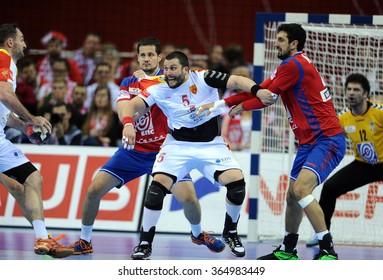 CRACOV, POLAND - JANUARY 19, 2016: Men's EHF European Handball Federation EURO 2016 Krakow Tauron Arena Macedonia Serbiao/p: Stojanche Stoilov Ilija Abutovic