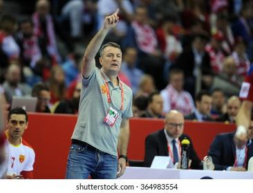 CRACOV, POLAND - JANUARY 19, 2016: Men's EHF European Handball Federation EURO 2016 Krakow Tauron Arena Macedonia Serbiao/p: Ivica Obrvan