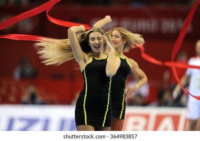 CRACOV, POLAND - JANUARY 19, 2016: Men's EHF European Handball Federation EURO 2016 Krakow Tauron Arena Macedonia Serbiao/p: cheerleaders