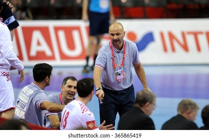 CRACOV, POLAND - JANUARY 21, 2016: Men's EHF European Handball Federation EURO 2016 Krakow Tauron Arena Macedonia - Croatiao/p: Zeljko Babic Coach