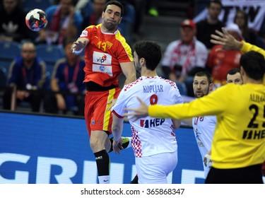 CRACOV, POLAND - JANUARY 21, 2016: Men's EHF European Handball Federation EURO 2016 Krakow Tauron Arena Macedonia - Croatiao/p: Filip Mirkulovski Marko Kopljar