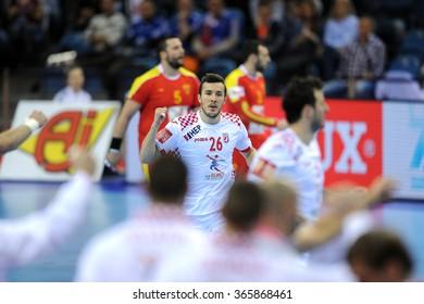 CRACOV, POLAND - JANUARY 21, 2016: Men's EHF European Handball Federation EURO 2016 Krakow Tauron Arena Macedonia - Croatiao/p: Manuel Strlek