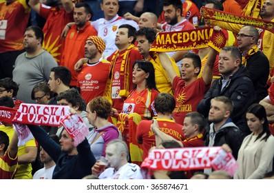 CRACOV, POLAND - JANUARY 21, 2016: Men's EHF European Handball Federation EURO 2016 Krakow Tauron Arena Macedonia - Croatiao/p: Macedonia fans
