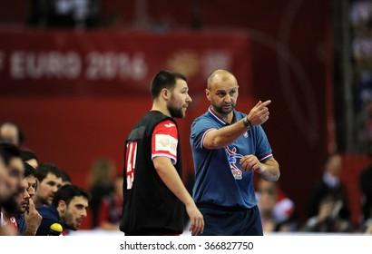 CRACOV, POLAND - JANUARY 23, 2016: Men's EHF European Handball Federation EURO 2016 Krakow Tauron Arena France - Croatia o/p: Zeljko Babic Coach