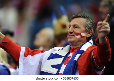 CRACOV, POLAND - JANUARY 23, 2016: Men's EHF European Handball Federation EURO 2016 Krakow Tauron Arena France - Croatia o/p: croatia fans