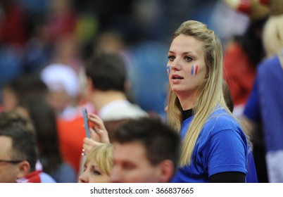 CRACOV, POLAND - JANUARY 23, 2016: Men's EHF European Handball Federation EURO 2016 Krakow Tauron Arena France - Croatia o/p: france fans