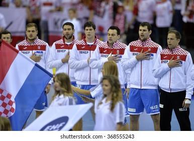 CRACOV, POLAND - JANUARY 27, 2016: Men's EHF European Handball Federation EURO 2016 Krakow Tauron Arena Poland Croatia o/p: Croatia