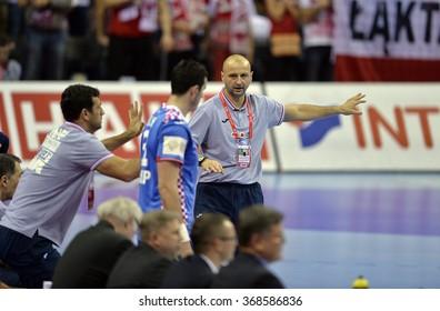 CRACOV, POLAND - JANUARY 27, 2016: Men's EHF European Handball Federation EURO 2016 Krakow Tauron Arena Poland Croatia o/p: Zeljko Babic Coach