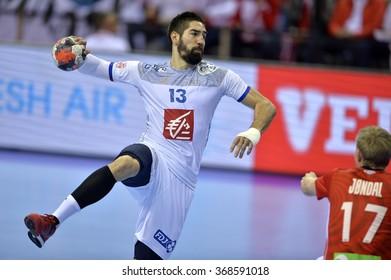CRACOV, POLAND - JANUARY 27, 2016: Men's EHF European Handball Federation EURO 2016 Krakow Tauron Arena France Norway o/p: Nikola Karabatic