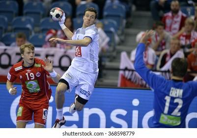 CRACOV, POLAND - JANUARY 27, 2016: Men's EHF European Handball Federation EURO 2016 Krakow Tauron Arena France Norway o/p: Kentin Mahe