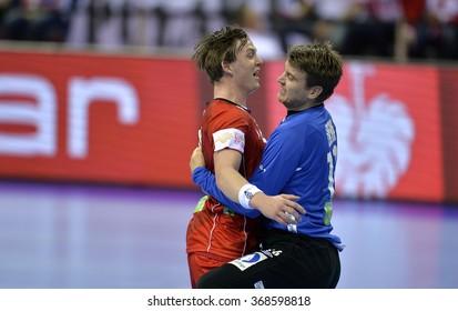 CRACOV, POLAND - JANUARY 27, 2016: Men's EHF European Handball Federation EURO 2016 Krakow Tauron Arena France Norway o/p: Sander Sagonsen Ole Erevik