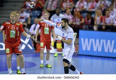 CRACOV, POLAND - JANUARY 27, 2016: Men's EHF European Handball Federation EURO 2016 Krakow Tauron Arena France Norway o/p: Erlend Mamelund Nikola Karabatic