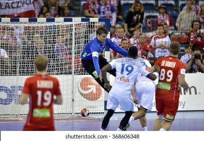 CRACOV, POLAND - JANUARY 27, 2016: Men's EHF European Handball Federation EURO 2016 Krakow Tauron Arena France Norway o/p: Ole Erevik