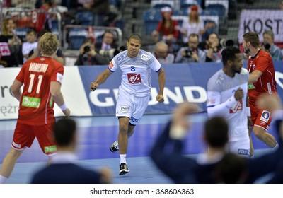 CRACOV, POLAND - JANUARY 27, 2016: Men's EHF European Handball Federation EURO 2016 Krakow Tauron Arena France Norway o/p: Daniel Narcisse