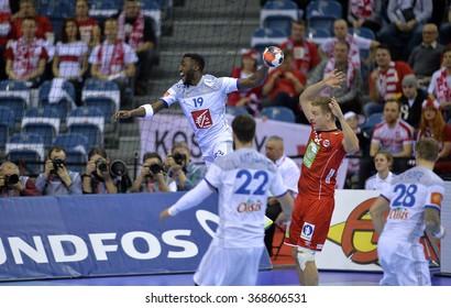 CRACOV, POLAND - JANUARY 27, 2016: Men's EHF European Handball Federation EURO 2016 Krakow Tauron Arena France Norway o/p: Luc Abalo
