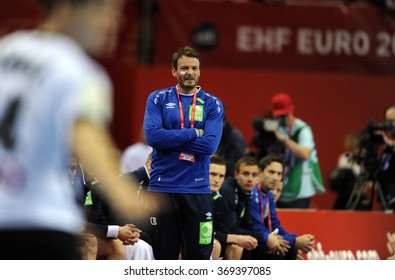 CRACOV, POLAND - JANUARY 29, 2016: Men's EHF European Handball Federation EURO 2016 Krakow Tauron Arena Germany Norwayo/p: Robert Hedin