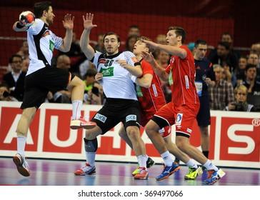 CRACOV, POLAND - JANUARY 29, 2016: Men's EHF European Handball Federation EURO 2016 Krakow Tauron Arena Germany Norwayo/p: Jannik Kohlbacher