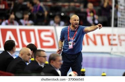 CRACOV, POLAND - JANUARY 29, 2016: Men's EHF European Handball Federation EURO 2016 Krakow Tauron Arena Norway Croatia  o/p: Zeljko Babic Coach
