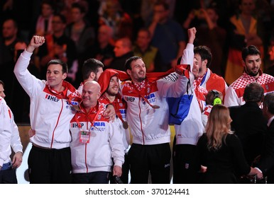 CRACOV, POLAND - JANUARY 31, 2016: Men's EHF European Handball Federation EURO 2016 Krakow Tauron Arena Germany Spaino/p: Marino Maric Jakov Gojun Igor Karacic
