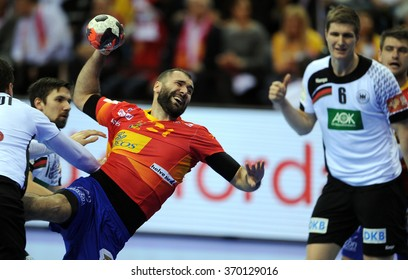 CRACOV, POLAND - JANUARY 31, 2016: Men's EHF European Handball Federation EURO 2016 Krakow Tauron Arena Germany Spaino/p: Joan Canellas