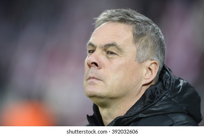 CRACOV, POLAND - MARCH 12, 2016: T-Mobile Extra League Polish Premier Football League Cracovia Cracov Legia Warsaw