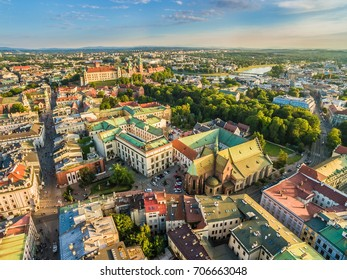 Cracow - aerial view. Landscape of old town with Franciscan Basilica and Wawel Castle.