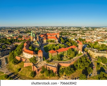 Cracow aerial view - old town. Cracow Landscape with the Castle and Wawel Cathedral.